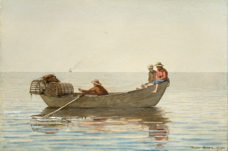 Three Boys in a Dory with Lobster Pots, Winslow Homer, 1875